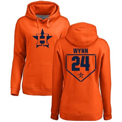 MLB Women's Nike Houston Astros #24 Jimmy Wynn Orange RBI Pullover Hoodie