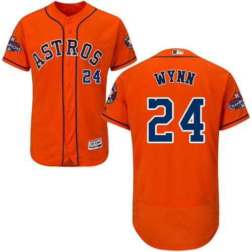 Men's Majestic Houston Astros #24 Jimmy Wynn Authentic Orange Alternate 2017 World Series Champions Flex Base MLB Jersey