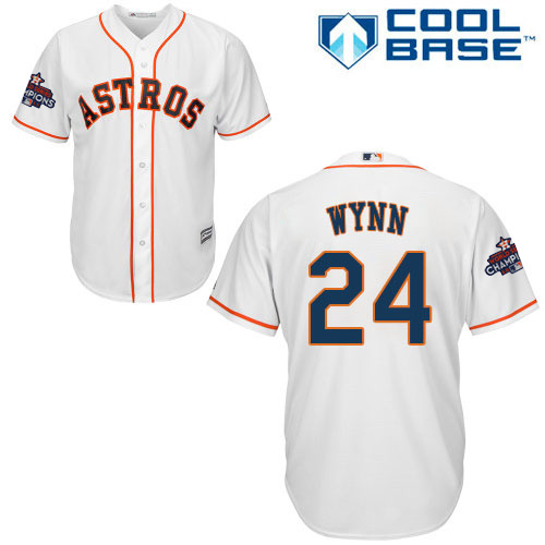 Men's Majestic Houston Astros #24 Jimmy Wynn Replica White Home 2017 World Series Champions Cool Base MLB Jersey