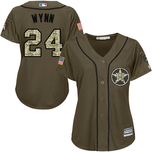 Women's Majestic Houston Astros #24 Jimmy Wynn Authentic Green Salute to Service MLB Jersey