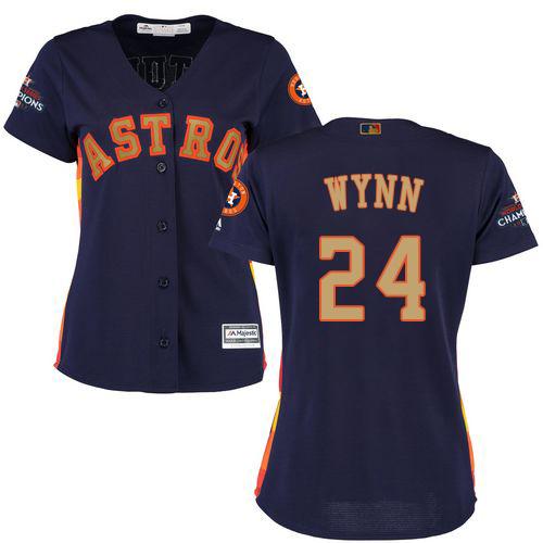 Women's Majestic Houston Astros #24 Jimmy Wynn Authentic Navy Blue Alternate 2018 Gold Program Cool Base MLB Jersey