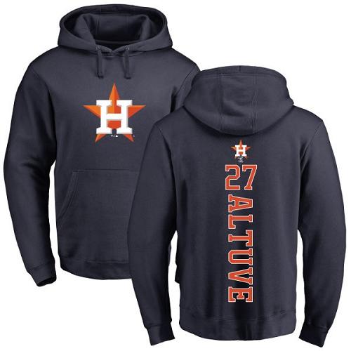 MLB Nike Houston Astros #27 Jose Altuve Navy Blue Backer Pullover Hoodie