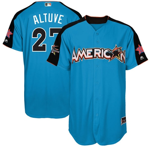 Men's Majestic Houston Astros #27 Jose Altuve Authentic Blue American League 2017 MLB All-Star MLB Jersey