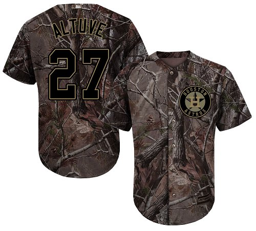Men's Majestic Houston Astros #27 Jose Altuve Authentic Camo Realtree Collection Flex Base MLB Jersey