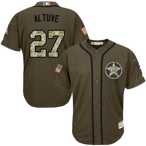 Men's Majestic Houston Astros #27 Jose Altuve Authentic Green Salute to Service MLB Jersey