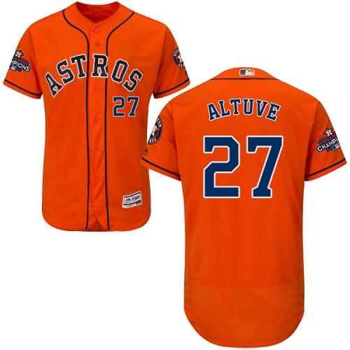 Men's Majestic Houston Astros #27 Jose Altuve Authentic Orange Alternate 2017 World Series Champions Flex Base MLB Jersey