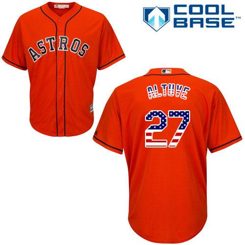 Men's Majestic Houston Astros #27 Jose Altuve Authentic Orange USA Flag Fashion MLB Jersey
