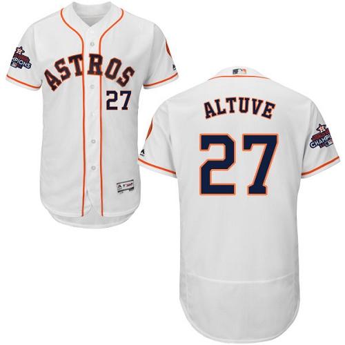 Men's Majestic Houston Astros #27 Jose Altuve Authentic White Home 2017 World Series Champions Flex Base MLB Jersey