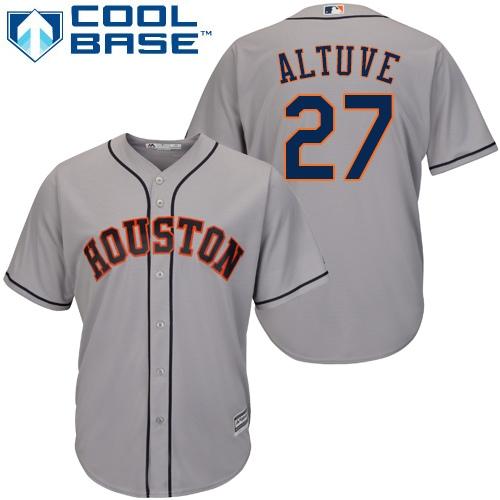 Men's Majestic Houston Astros #27 Jose Altuve Replica Grey Road Cool Base MLB Jersey