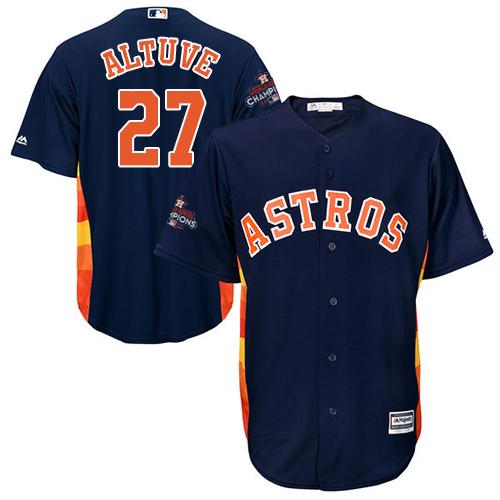 Men's Majestic Houston Astros #27 Jose Altuve Replica Navy Blue Alternate 2017 World Series Champions Cool Base MLB Jersey
