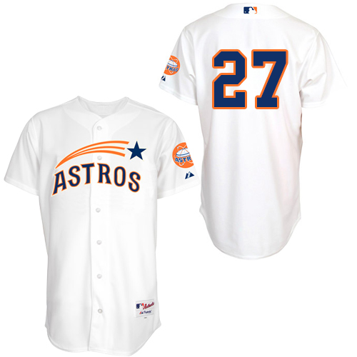 Men's Majestic Houston Astros #27 Jose Altuve Replica White 1965 Turn Back The Clock MLB Jersey