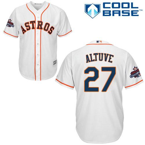 Men's Majestic Houston Astros #27 Jose Altuve Replica White Home 2017 World Series Champions Cool Base MLB Jersey