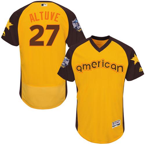 Men's Majestic Houston Astros #27 Jose Altuve Yellow 2016 All-Star American League BP Authentic Collection Flex Base MLB Jersey