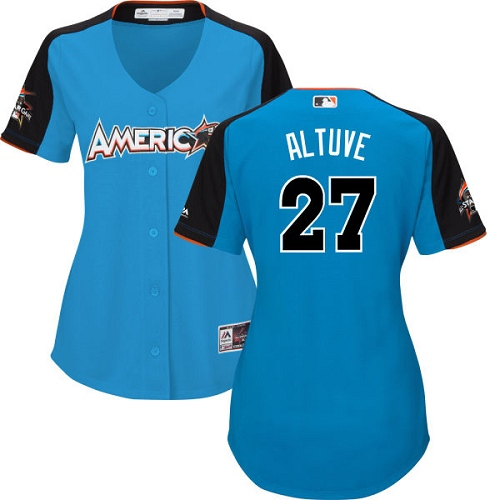 Women's Majestic Houston Astros #27 Jose Altuve Authentic Blue American League 2017 MLB All-Star MLB Jersey