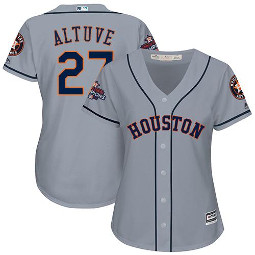 Women's Majestic Houston Astros #27 Jose Altuve Authentic Grey Road 2017 World Series Champions Cool Base MLB Jersey
