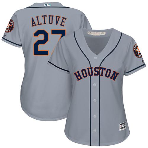 Women's Majestic Houston Astros #27 Jose Altuve Authentic Grey Road Cool Base MLB Jersey