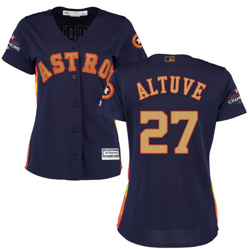 Women's Majestic Houston Astros #27 Jose Altuve Authentic Navy Blue Alternate 2018 Gold Program Cool Base MLB Jersey