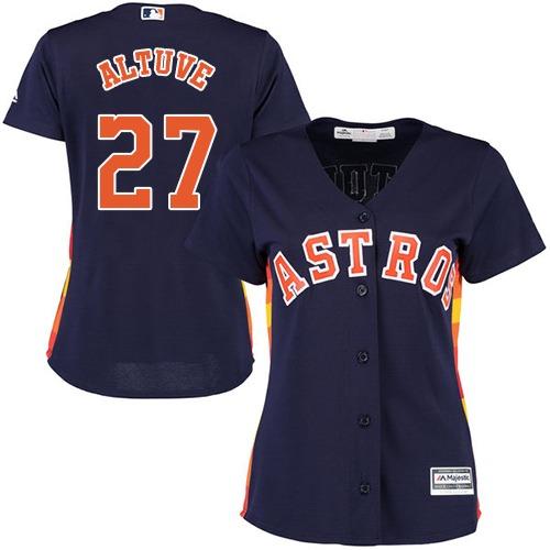 Women's Majestic Houston Astros #27 Jose Altuve Authentic Navy Blue Alternate Cool Base MLB Jersey