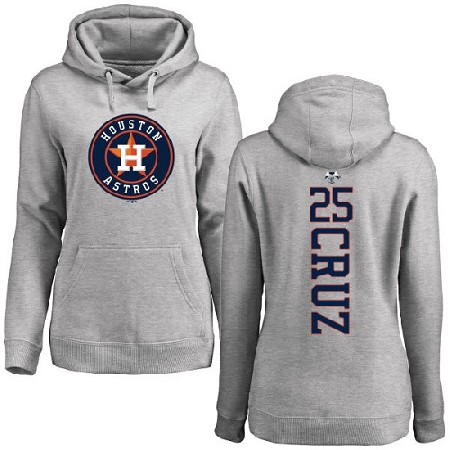 MLB Women's Nike Houston Astros #25 Jose Cruz Jr. Ash Backer Pullover Hoodie