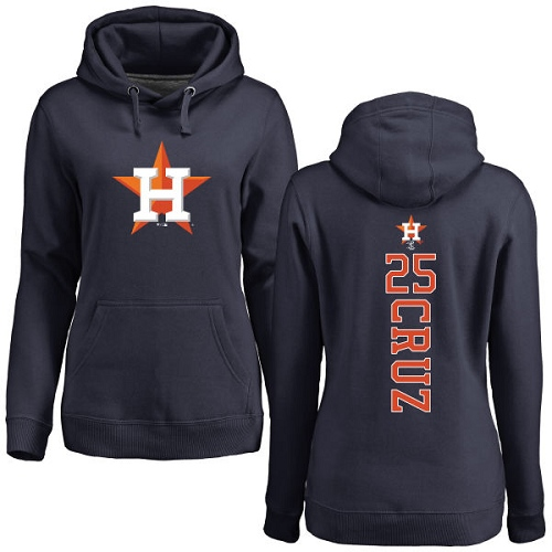 MLB Women's Nike Houston Astros #25 Jose Cruz Jr. Navy Blue Backer Pullover Hoodie