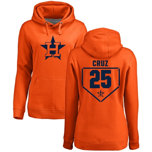 MLB Women's Nike Houston Astros #25 Jose Cruz Jr. Orange RBI Pullover Hoodie