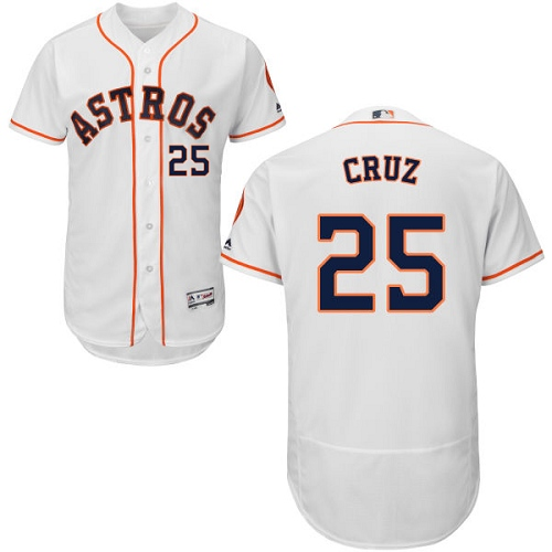 Men's Majestic Houston Astros #25 Jose Cruz Jr. White Home Flex Base Authentic Collection MLB Jersey