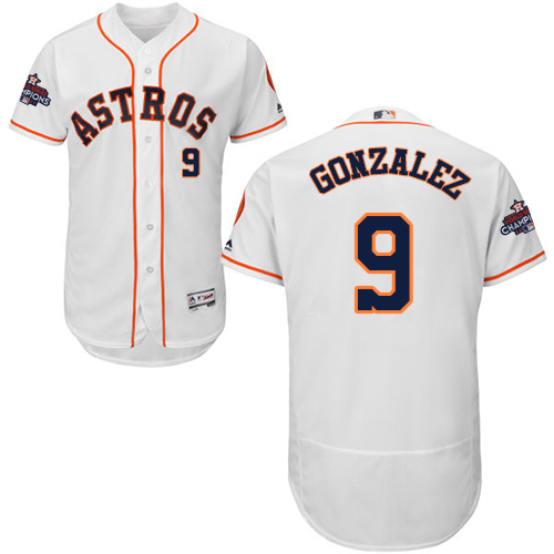 Men's Majestic Houston Astros #9 Marwin Gonzalez Authentic White Home 2017 World Series Champions Flex Base MLB Jersey