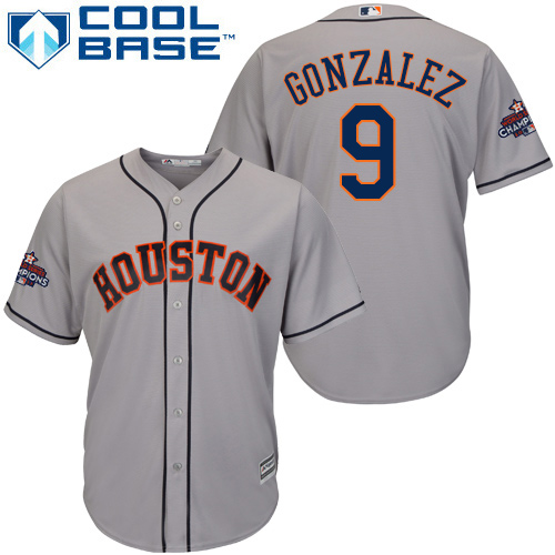 Men's Majestic Houston Astros #9 Marwin Gonzalez Replica Grey Road 2017 World Series Champions Cool Base MLB Jersey