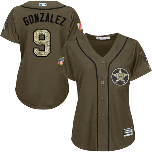 Women's Majestic Houston Astros #9 Marwin Gonzalez Authentic Green Salute to Service MLB Jersey