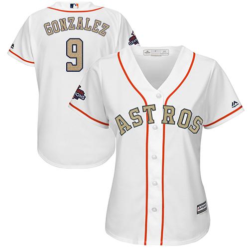 Women's Majestic Houston Astros #9 Marwin Gonzalez Authentic White 2018 Gold Program Cool Base MLB Jersey