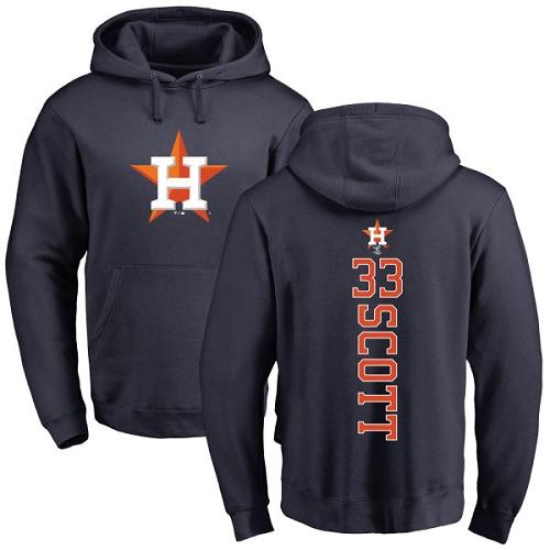 MLB Nike Houston Astros #33 Mike Scott Navy Blue Backer Pullover Hoodie