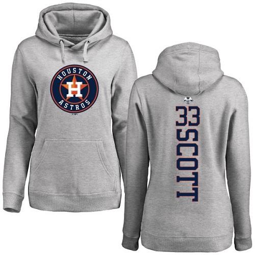 MLB Women's Nike Houston Astros #33 Mike Scott Ash Backer Pullover Hoodie