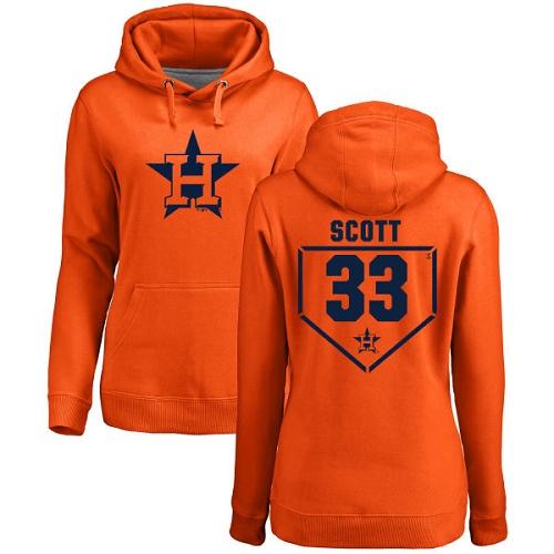 MLB Women's Nike Houston Astros #33 Mike Scott Orange RBI Pullover Hoodie