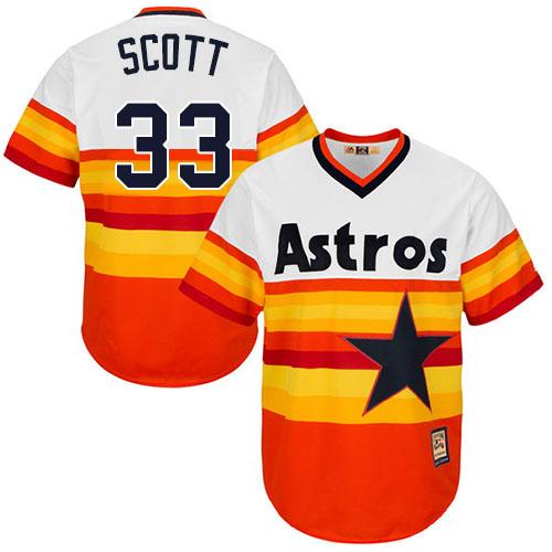 Men's Majestic Houston Astros #33 Mike Scott Replica Orange Cooperstown MLB Jersey