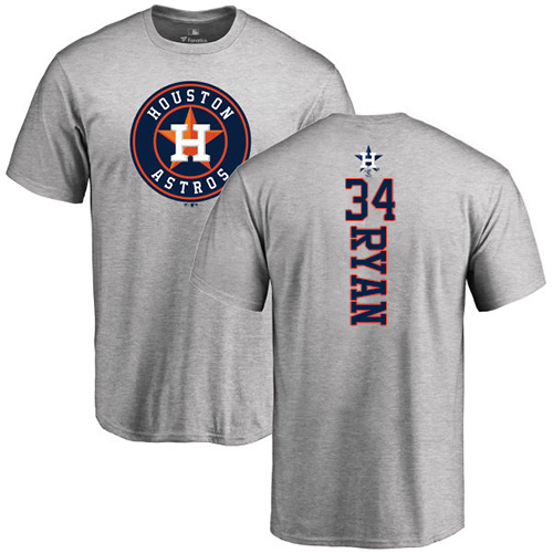 MLB Nike Houston Astros #34 Nolan Ryan Ash Backer T-Shirt