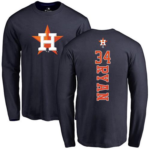 MLB Nike Houston Astros #34 Nolan Ryan Navy Blue Backer Long Sleeve T-Shirt