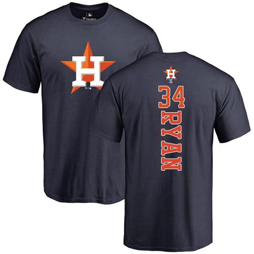 MLB Nike Houston Astros #34 Nolan Ryan Navy Blue Backer T-Shirt
