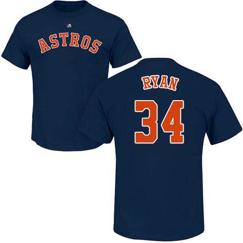 MLB Nike Houston Astros #34 Nolan Ryan Navy Blue Name & Number T-Shirt