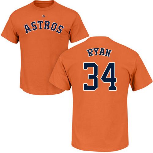 MLB Nike Houston Astros #34 Nolan Ryan Orange Name & Number T-Shirt