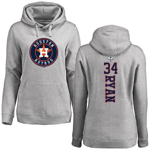 MLB Women's Nike Houston Astros #34 Nolan Ryan Ash Backer Pullover Hoodie