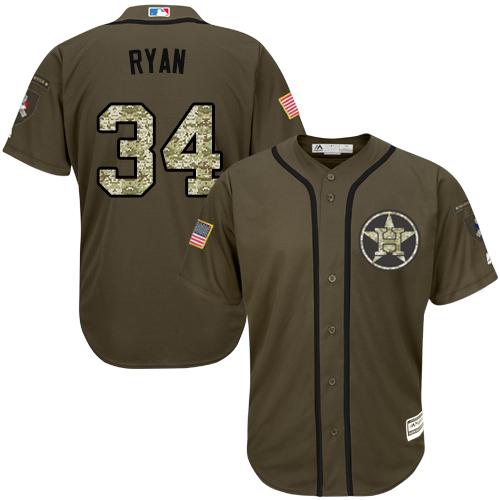 Men's Majestic Houston Astros #34 Nolan Ryan Authentic Green Salute to Service MLB Jersey