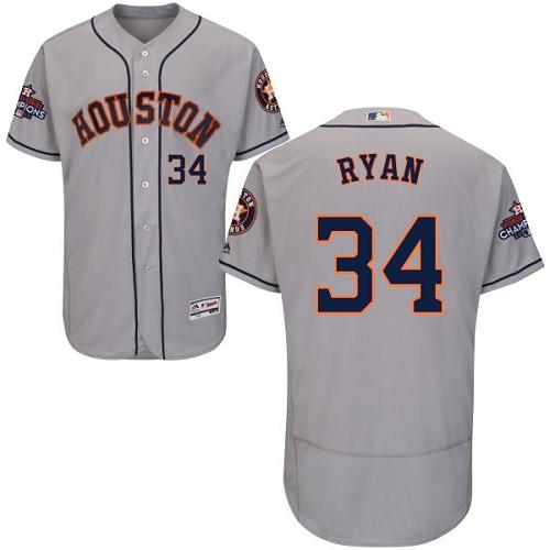 Men's Majestic Houston Astros #34 Nolan Ryan Authentic Grey Road 2017 World Series Champions Flex Base MLB Jersey