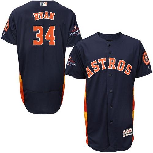 Men's Majestic Houston Astros #34 Nolan Ryan Authentic Navy Blue Alternate 2017 World Series Champions Flex Base MLB Jersey