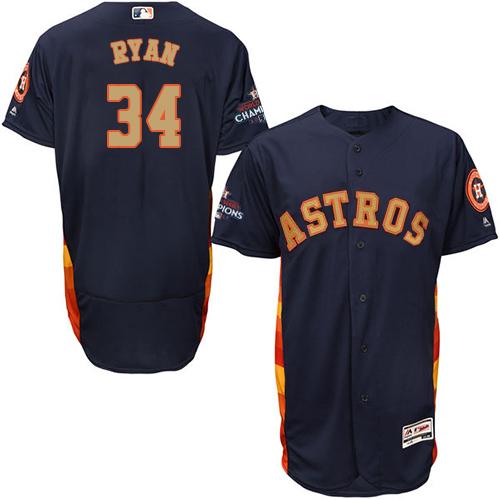 Men's Majestic Houston Astros #34 Nolan Ryan Navy Blue Alternate 2018 Gold Program Flex Base Authentic Collection MLB Jersey