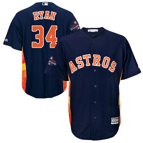 Men's Majestic Houston Astros #34 Nolan Ryan Replica Navy Blue Alternate 2017 World Series Champions Cool Base MLB Jersey