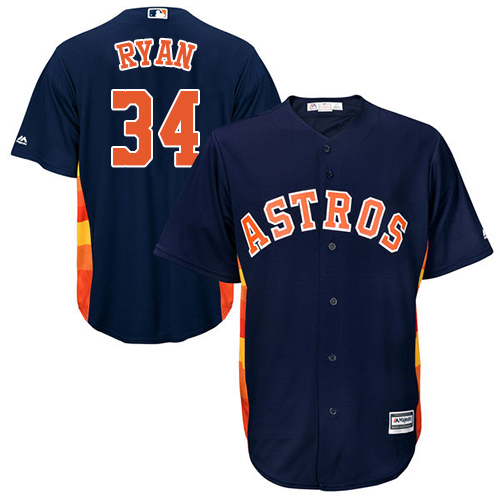 Men's Majestic Houston Astros #34 Nolan Ryan Replica Navy Blue Alternate Cool Base MLB Jersey