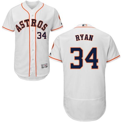 Men's Majestic Houston Astros #34 Nolan Ryan White Home Flex Base Authentic Collection MLB Jersey