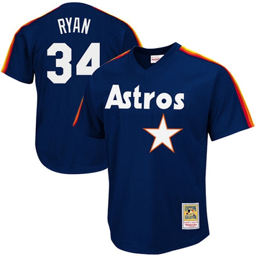 Men's Mitchell and Ness 1988 Houston Astros #34 Nolan Ryan Authentic Navy Blue Throwback MLB Jersey