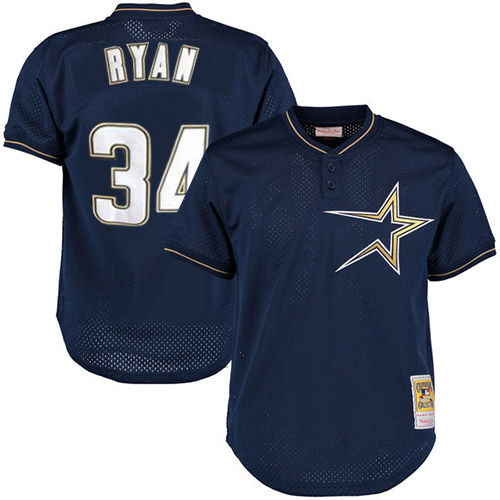 Men's Mitchell and Ness 1997 Houston Astros #34 Nolan Ryan Authentic Navy Blue Throwback MLB Jersey
