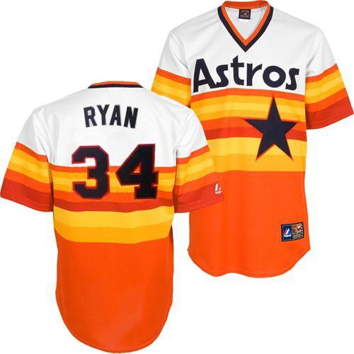 Men's Mitchell and Ness Houston Astros #34 Nolan Ryan Replica White/Orange Throwback MLB Jersey